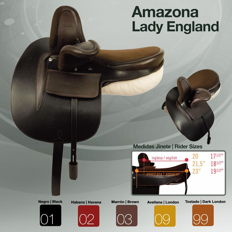 Selle en Amazone Zaldi Lady England couleurs