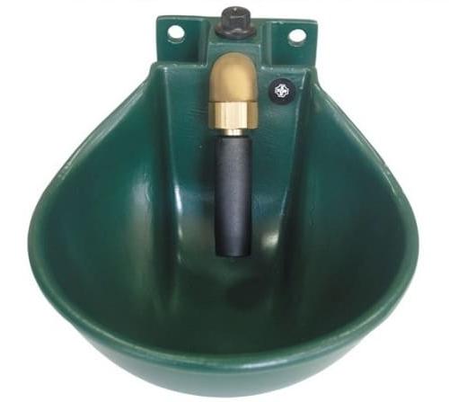 Abreuvoir pour cheval automatique couleur vert avec manche
